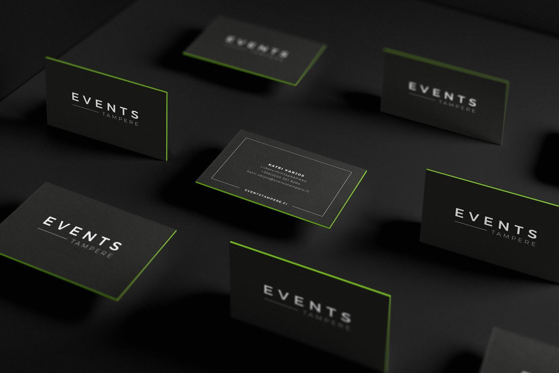 Creative Crue suunnitteli Events Tampereelle myös muita markkinointimateriaaleja, kuten käyntikortit.