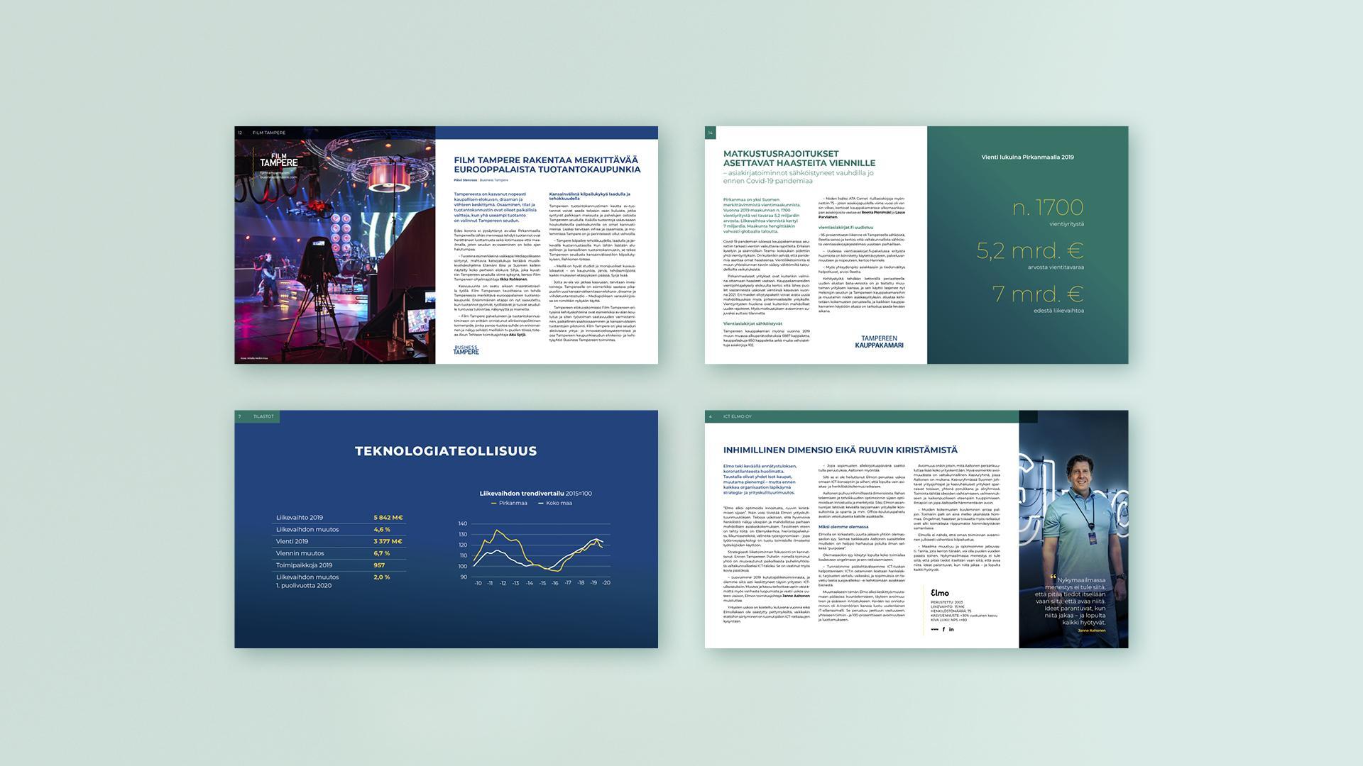 Creative Crue vastasi talouskatsauksen visuaalisesta suunnittelusta, yrityshaastatteluista, kuvitusmateriaaleista sekä taitosta.