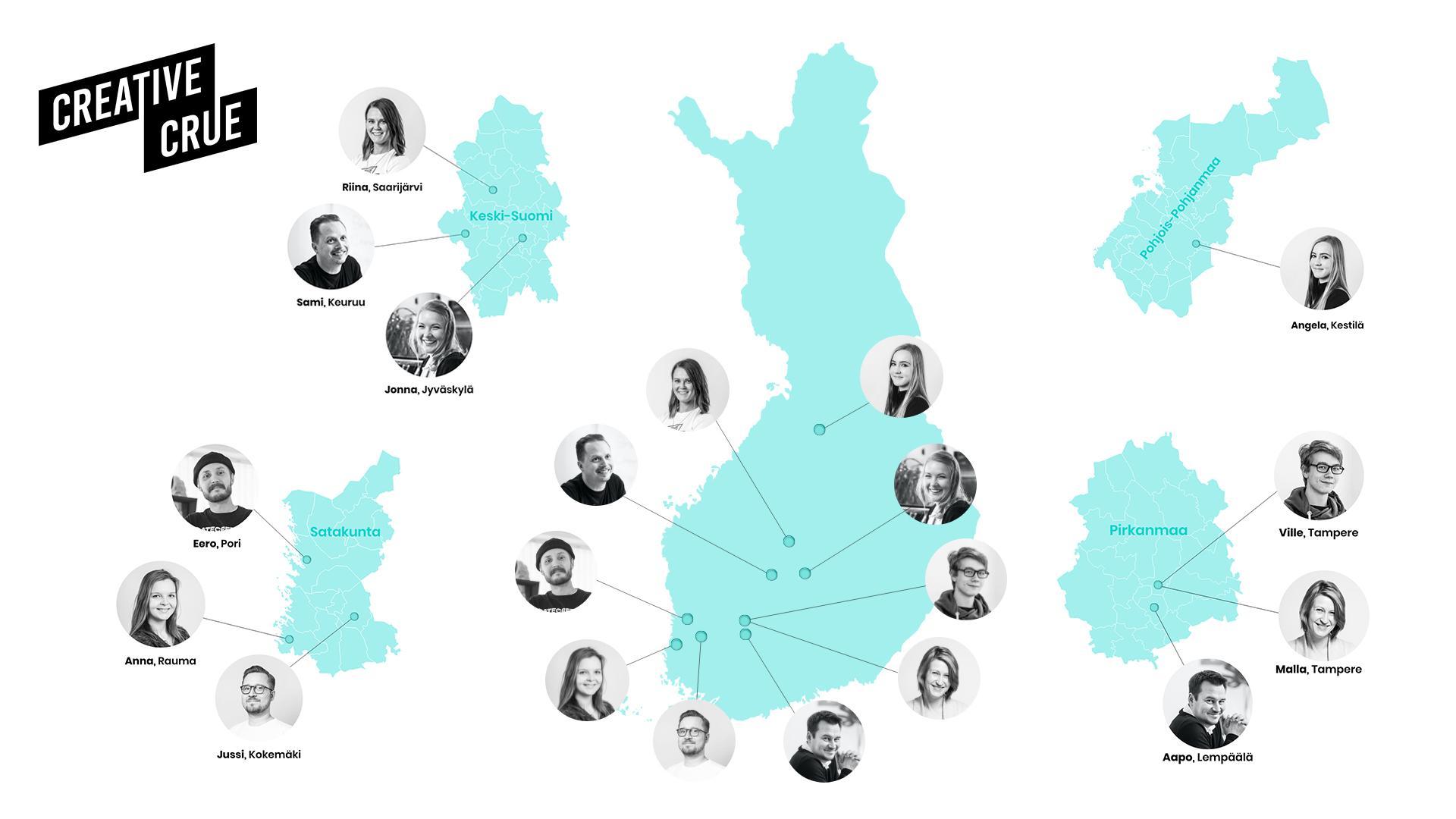 Creative Cruen kotiseutukartta. Katso kuka on mistäkin kotoisin ja miten seutumustuntemus voi olla eduksi markkinoinnissa.