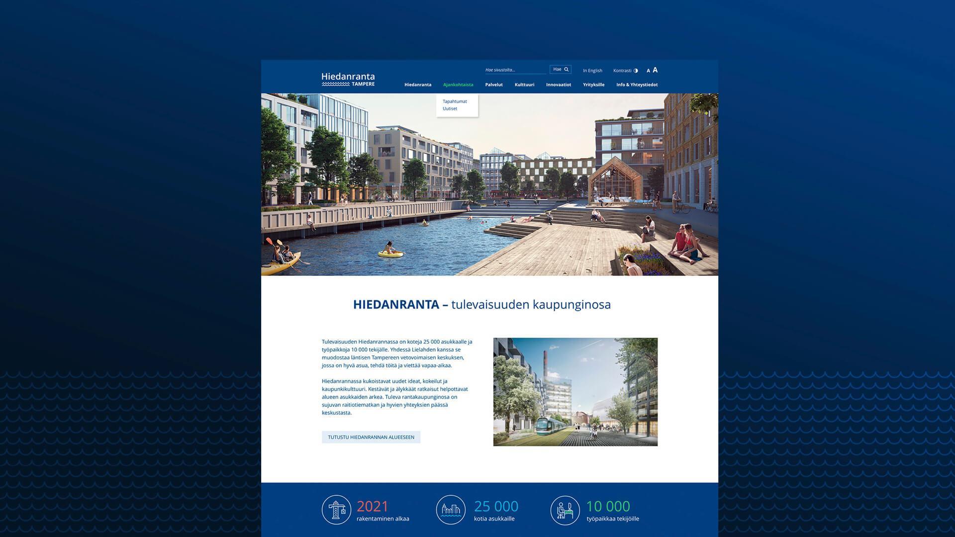 Creative Crue suunnitteli ja toteutti Tampereen Hiedanrannan tulevaisuuden asuinalueelle kotisivut. Kuvassa mockup kuvitus kotisivuista.